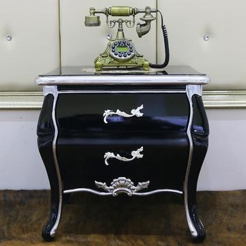 欧式床头柜实木家具新古典床头柜简约时尚黑色描银ZWTMYROM
