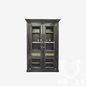 黑色酒柜 仿古 新古典 简约欧式书柜 美式乡村做旧 双开门门厅柜