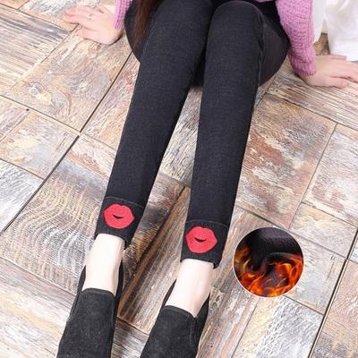 加绒加厚外穿打底裤女秋冬新款灰黑色仿牛仔裤雪花小脚长裤女裤子