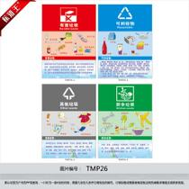 Custom garbage classification logo stickers recyclables harmful other kitchen waste wall stickers set figure TMP26