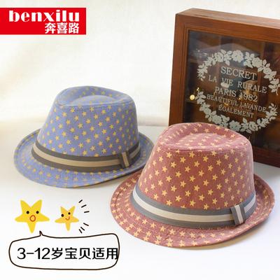 儿童礼帽男夏秋季新款英伦风爵士帽五角星图案女宝宝晒遮阳帽子