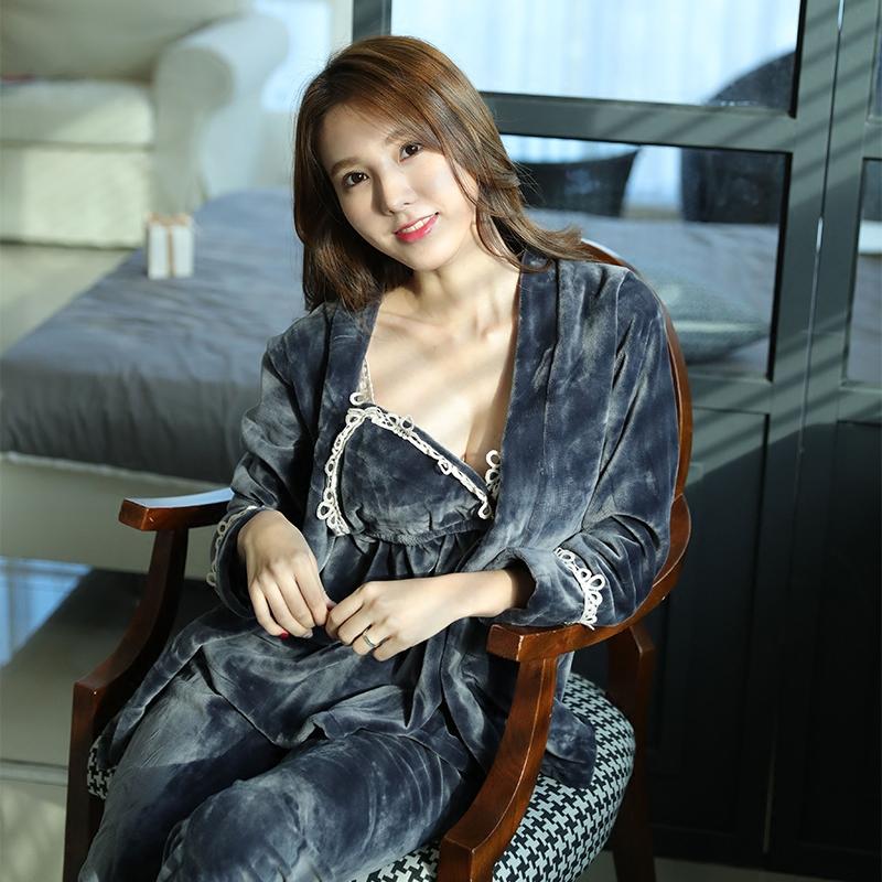 韩版珊瑚绒性感吊带睡衣三件套1元优惠券
