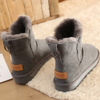 冬季新款雪地靴女羊毛磨砂牛皮加厚防滑底女士短靴低筒雪地棉女鞋