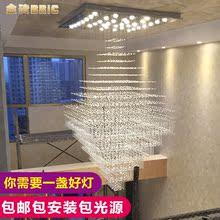 现代简约别墅大吊灯复式楼 楼梯灯长方形水晶吊灯客厅酒店大厅灯
