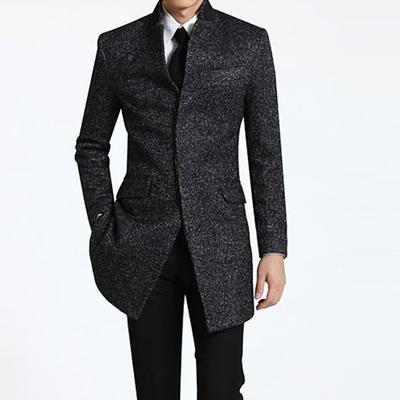 新款春秋冬季商务休闲男装羊毛呢单排扣立领加肥加大风衣外套大衣