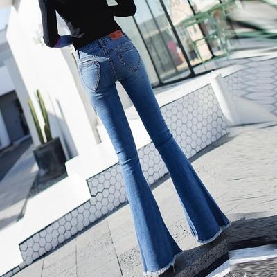 秋款大喇叭裤女修身显瘦高腰毛边原宿ulzzang阔腿微喇叭牛仔长裤