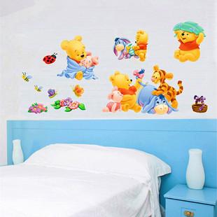 小熊维尼卡通墙贴可移除卧室客厅儿童房间幼儿园装饰画贴纸自粘