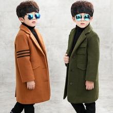 中大童韩版 长款 毛呢大衣潮 男童呢子外套加厚夹棉2017新款 儿童冬装