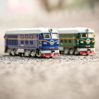 出口1:87东风火车头合金模型声光回力古典绿皮火车模型儿童玩具车