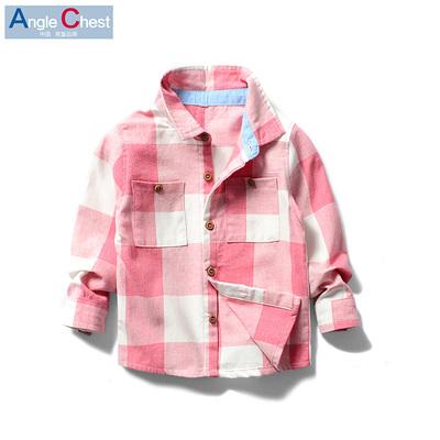 儿童衬衫2018春秋新款童装宝宝男宝上衣男童纯棉薄长袖格子衬衣潮
