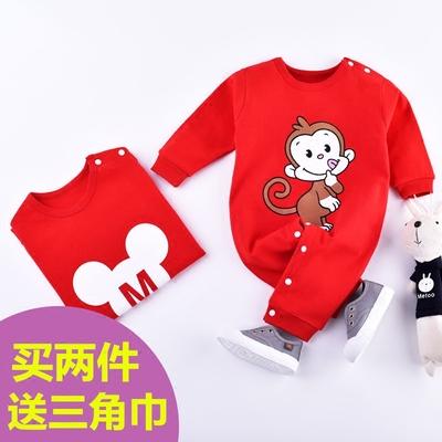 婴儿纯棉连体衣0春秋装1岁新生儿长袖衣服6个月3女男宝宝爬服哈衣