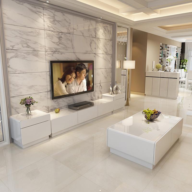 电视柜简约现代白色烤钢化玻璃