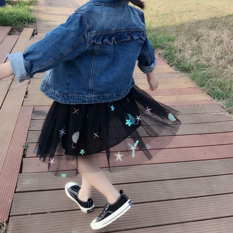 女童女宝宝纱裙韩版蓬蓬纱半身裙蓬蓬裙黑色星空公主夏季短裙儿童