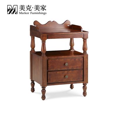 美克美家圣卡罗床头柜美式现代实木床边柜储物柜 11M57503300101