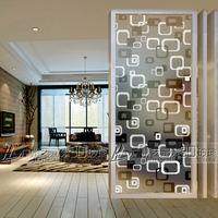 Art glass bathroom wet and dry separation bathroom partition Tempered glass screen entrance double transparency