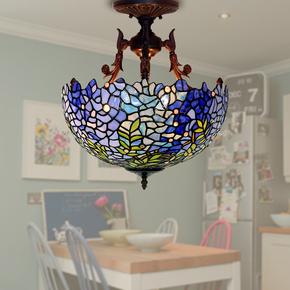 帝凡尼灯欧式唯美紫藤蓝色玻璃吸顶灯LED餐厅阳台卧室装饰吊灯