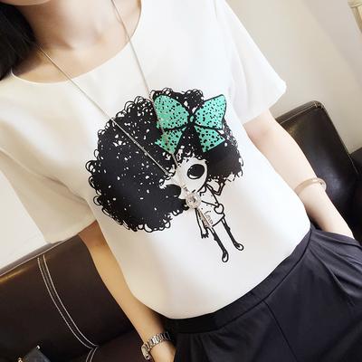 夏季大码女装韩版休闲宽松卡通字母圆领短袖雪纺衫T恤上衣打底衫