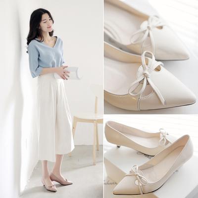 春秋新款甜美系带蝴蝶结高跟鞋浅口低跟单鞋韩版尖头女鞋子工作鞋