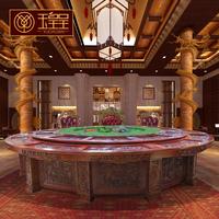 玉皇呈高档橡木音乐喷泉餐桌电动餐桌大圆桌20人酒店电动大圆桌