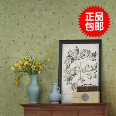 无纺布美式乡村墙纸复古怀旧卧室温馨欧式田园清新壁纸绿色小碎花销量排行