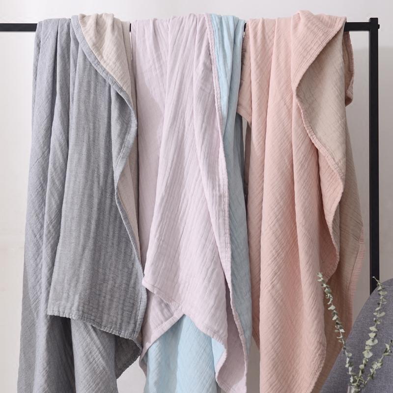 日本简约4层加厚纱布毯子纯棉空调柔软毛巾被双人秋冬加厚床单