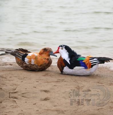 情人节鸳鸯摆件花园装饰假山园艺动物摆件羽毛工艺摆设仿真鸳鸯