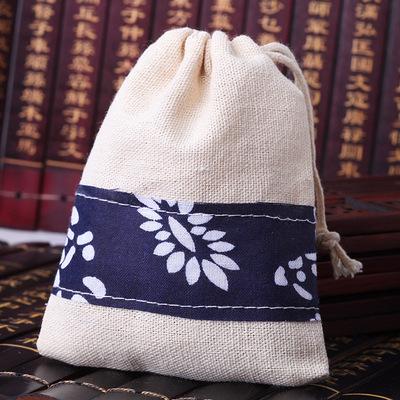 陶瓷饰品风铃手链项链棉麻布包装袋 小首饰礼品袋