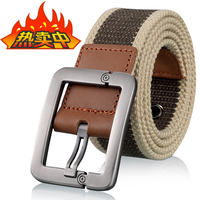 Men's and women's canvas belt casual business jeans pin buckle belt outdoor youth students Korean version of the tide