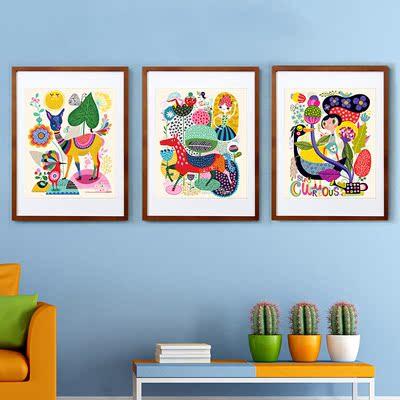 现代装饰画客厅壁画卧室床头挂画餐厅画卡通可爱有框画创意抽象
