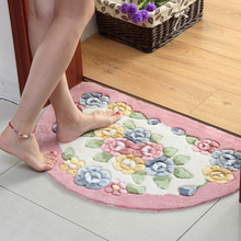 厨房卧室卫生间门口脚垫浴室防滑垫子 玫瑰剪花半圆吸水地垫 门垫图片