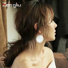 925银针贝壳耳环女圆形长款耳坠夸张韩国气质吊坠个性耳饰潮耳圈