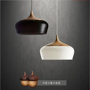 北欧简约餐厅卧室日式实木创意吧台欧美式复古单头原木设计师吊灯