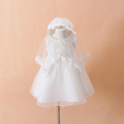 婴儿满月酒 百天 周岁婚纱礼服裙 女宝宝纯色公主蓬蓬裙三件套