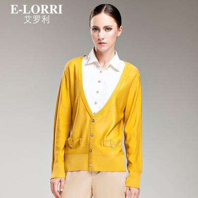 E-Lorri新款秋装显瘦衬衫领假两件套针织衫女短款小开衫外套