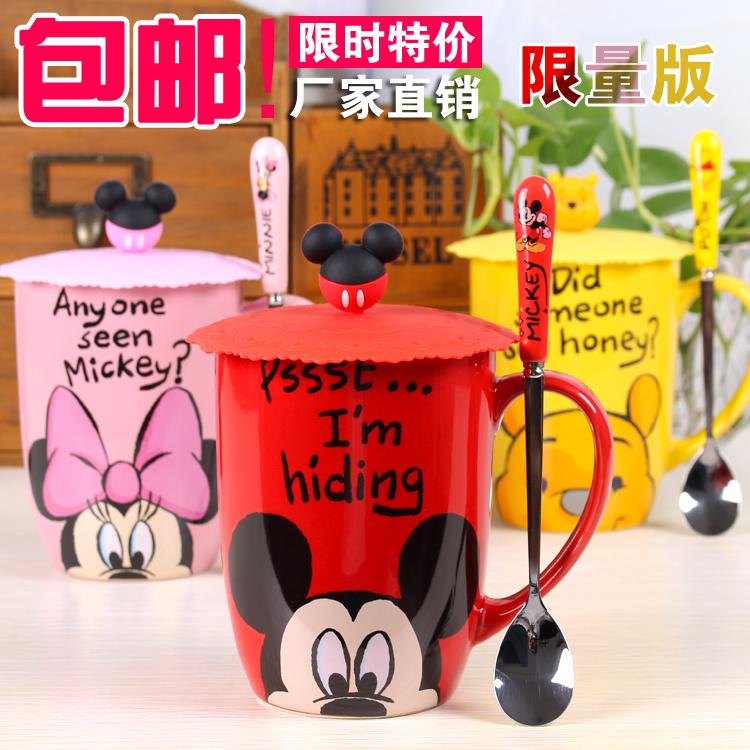 迪士尼鼓形杯米奇米妮维尼熊情侣对杯礼物牛奶咖啡陶瓷杯子带盖勺