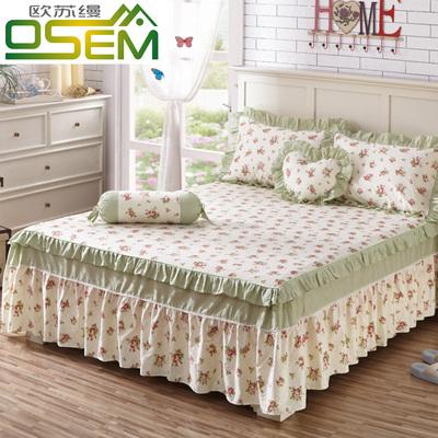 欧苏缦全棉荷叶边床罩纯棉床裙式单件防滑床套床单1.5m1.8米2.0床哪里购买