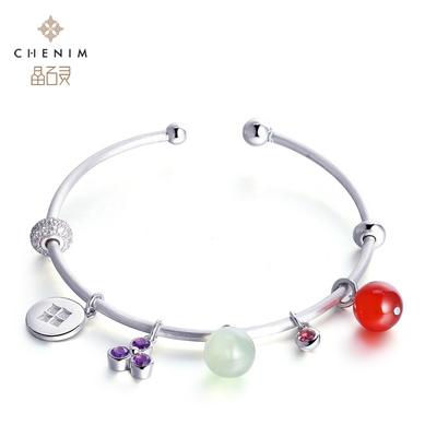 晶石灵宝石圆形个性DIY基础手镯珠宝饰品礼物彩宝