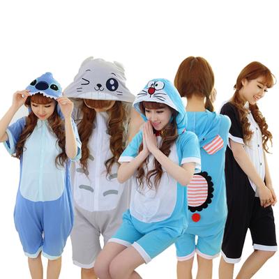 亲子装夏季母女装动物卡通连体睡衣男童女童纯棉家居服儿童短袖