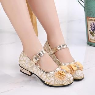 童鞋女童单鞋中大童女孩公主鞋韩版软底小高跟皮鞋2017春秋款防滑