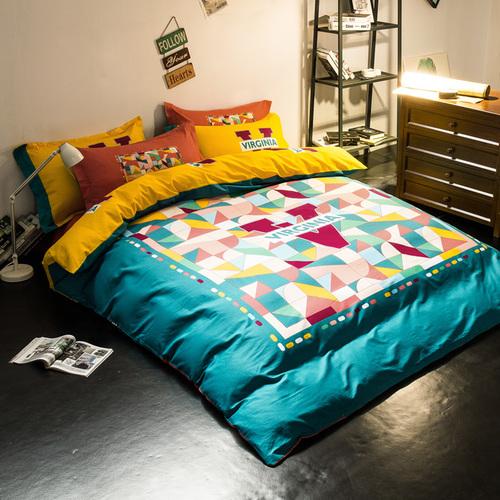 北欧简约炫酷全棉四件套纯棉床品套件床上用品4件套被套床笠床单