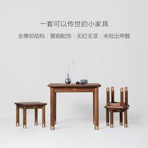 木蜡油零甲醛黄铜美国黑胡桃原木梵高小板凳铜木主义铜师傅