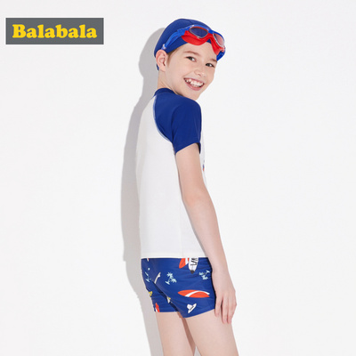 Balabala children's swimsuit boys'suit boys' and adolescents'split short-sleeved swimsuit swimming caps men