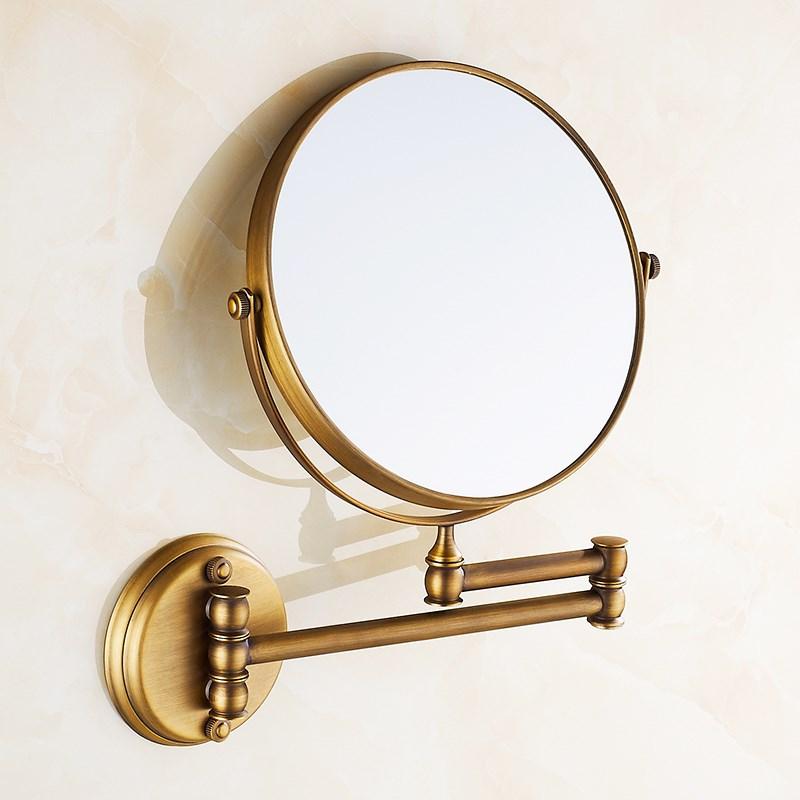 框架美妆镜子粘墙挂壁式脸盆珠宝墙贴舞蹈台式铜镜衣橱墙面小型