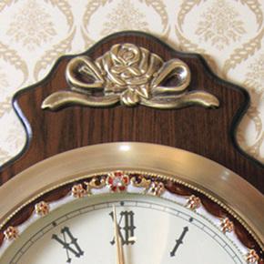 欧式挂钟客厅实木摆钟创意艺术壁挂纯铜钟表田园静音复古装饰时钟
