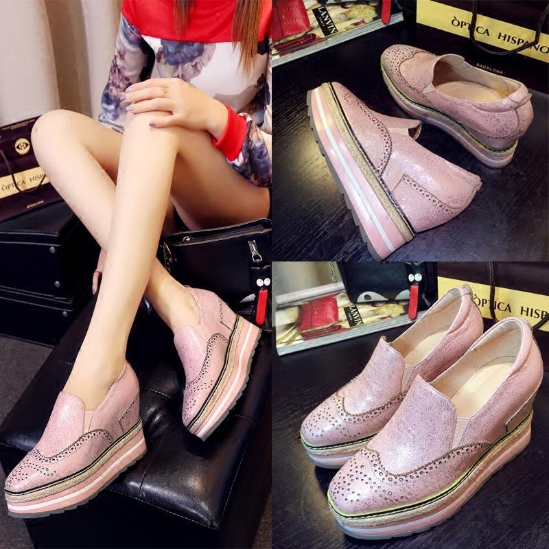 春季布洛克新款女鞋牛皮厚底松糕鞋内增高方头休闲坡跟单鞋欧美潮
