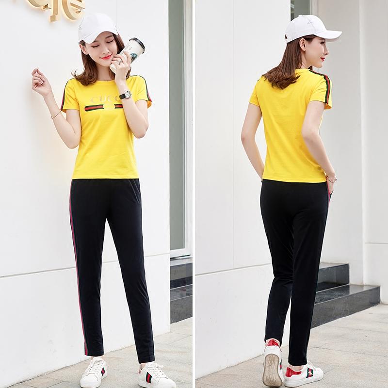 2018新款韩版潮大码短袖T恤长裤运动套装女夏装跑步运动服两件套
