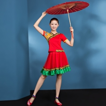 Modern Dance Costume 2019 New Youth Short Skirt National Dance Performance Dress Female Umbrella Square Dance Suit