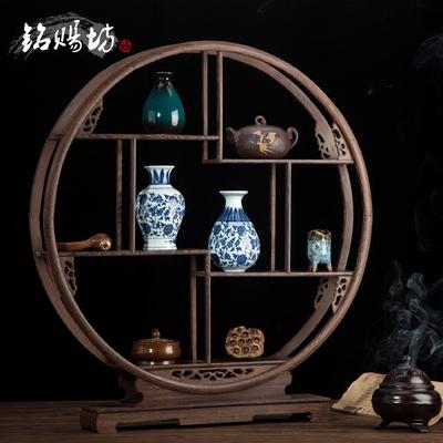 40-80厘米红木鸡翅木圆博古架实木中式家具多宝阁架装饰紫砂壶架