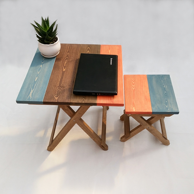 实木田园折叠餐桌做旧方桌彩色电脑桌学习休闲咖啡桌凳椅厂家包邮