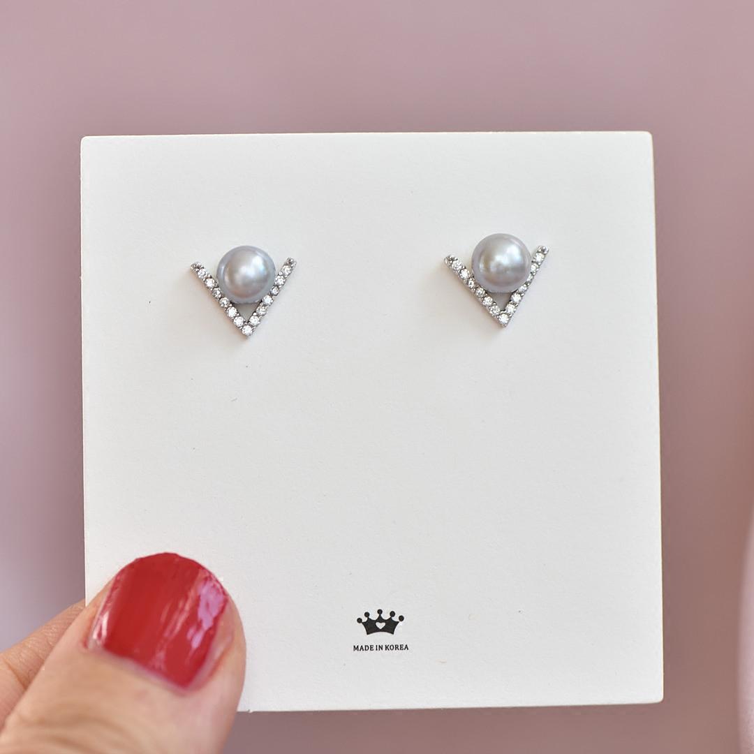 珍珠控~通体925纯银天然淡水珍珠V字耳钉不掉色耳夹简约气质个性